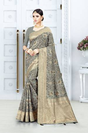 Look Pretty In This Designer Silk Based Grey Colored Floral Saree?Paired With Grey Colored Blouse. This Saree Is Fabricated On Weaving Silk Paired With Art Silk Fabricated Blouse. Buy This Saree Now