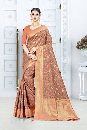 Grab This Pretty Floral Saree In Orange Color Paired With Orange Colored Blouse. This Saree Is Fabricated On Weaving Silk Paired With Art Silk Fabricated Blouse. This Pretty Saree Is Light Weight, Durable And Easy To Care For.