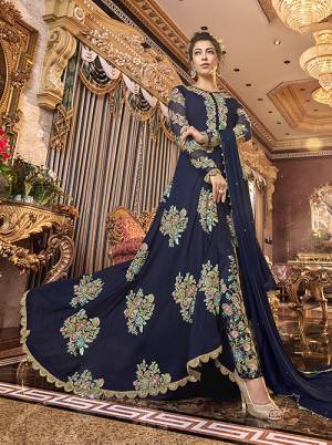 You Will Definitely Earn Lots Of Compliments Wearing This Designer Indo-Western Suit In Navy Blue Color. This Beautiful embroidered Floor Length Top With Front Silk Is Fabricated On Satin Silk Paired With Art Silk Fabricated Embroidered Bottom And Chiffon Fabricated Dupatta.