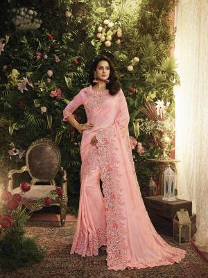 Look Pretty In This Beautiful Heavy Designer Saree In Pink Color Paired With Pink Colored Blouse. This Pretty Heavy Embroidered Saree Is Fabricated On Art Silk And Net Paired With Art Silk Fabricated Blouse. Buy This Lovely Saree Now.