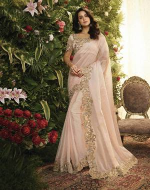 This Season Is About Subtle Shades And Pastel Play, So Grab This Pretty Saree In Pastel Pink Color Paired With Pastel Pink Colored Blouse. This Saree Is Fabricated On Orgenza And Net Paired With Art Silk Fabricated Blouse. Buy This Lovely Saree Now.