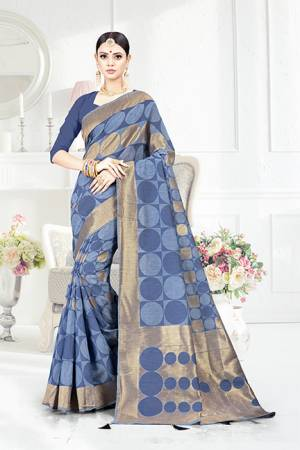 Look Pretty In This Designer Silk Based Dark Blue Colored Geonmetric Patterned Saree Paired With Dark Blue Colored Blouse. This Saree Is Fabricated On Weaving Silk Paired With Art Silk Fabricated Blouse. Buy This Saree Now