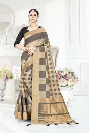 Look Pretty In This Designer Silk Based Grey Colored Geonmetric Patterned Saree Paired With Grey Colored Blouse. This Saree Is Fabricated On Weaving Silk Paired With Art Silk Fabricated Blouse. Buy This Saree Now