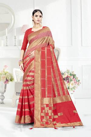 Grab This Pretty Geometric Patterned Saree In Red Color Paired With Red Colored Blouse. This Saree Is Fabricated On Weaving Silk Paired With Art Silk Fabricated Blouse. This Pretty Saree Is Light Weight, Durable And Easy To Care For.