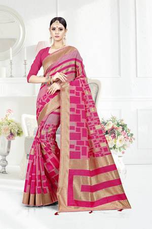 Grab This Pretty Geometric Patterned Saree In Pink Color Paired With Pink Colored Blouse. This Saree Is Fabricated On Weaving Silk Paired With Art Silk Fabricated Blouse. This Pretty Saree Is Light Weight, Durable And Easy To Care For.