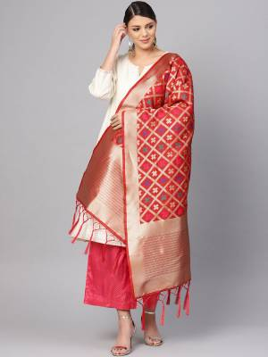 Enhance Your Look of gown and lehenga choli Or A Simple Kurti With Latest Trends Of Banarasi Dupatta Beautified With Attractive Weave All Over. You Can Pair This Up With Any Kind Of Ethnic Attire And In Same Or Contrasting Colored Attire.