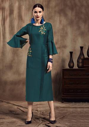 Lovely Shade Is Here To Add Into Your Wardrobe With This Designer Readymade Kurti In Teal Blue Color. This Kurti Is Fabricated On Muslin Which IS Soft Towards Skin And Easy To Carry All Day Long.