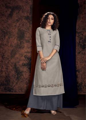 Flaunt Your Rich And Elegant Taste Wearing This Designer Readymade Pair Of Kurti And Plazzo In Shades Of Grey. Its Pretty Hand Embroidered Kurti Is Fabricated On Satin Cotton Paired With Satin Fabricated Bottom.