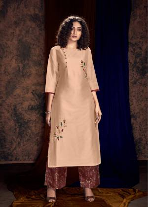 Look Pretty In This Designer Readymade Kurti In Peach Color Paired With Contrasting Brown Colored Plazzo. Its Top IS Fabricated On Art Silk Paired With Satin Cotton Fabricated Plazzo. It Is Light Weight And Easy To Carry All Day Long.