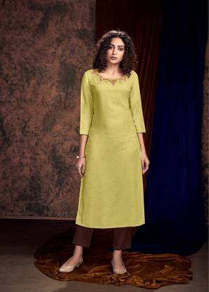 Grab This Designer Pair Of Readymade Kurti And Plazzo In Light Yellow Colored Kurti Paired With Contrasting Brown Colored Plazzo. Its Kurti Is Satin Slub Based Paired With Rayon Fabricated Bottom. Buy Now.