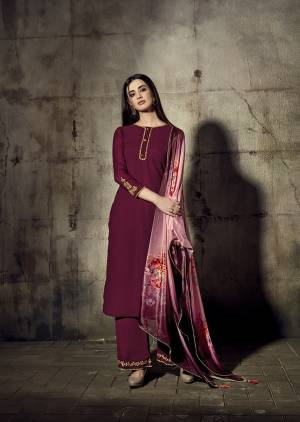 Shine Bright In This Designer Readymade Suit In Magenta Pink Color Paired With Pink Colored blouse. This Pretty Suit Is Fabricated On Georgette Paired With Chinon Fabricated Digital Printed Dupatta. Buy Now.