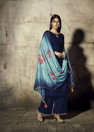Catch All The Limelight At The Next Wedding You Attend Wearing This Designer Readymade Straight Suit In Royal Blue Color Paired With Blue Colored Dupatta. Its Pretty Embroidered Top And Bottom Are Georgette Based Paired With Chinon Fabricated Digital Printed Dupatta.