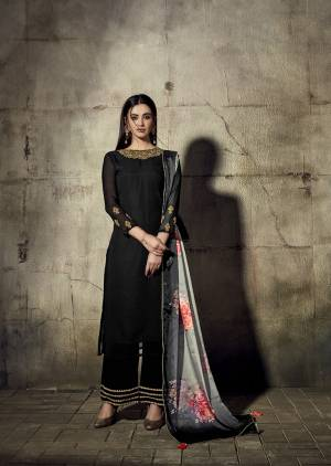 For A Bold And Beautiful Look, Grab This Designer Straight Suit In Black Color Paired With Grey Colored Dupatta. Its Readymade Top And Bottom Are Georgette Based Paired With Chinon Fabricated Dupatta Beautified With Digital Prints.
