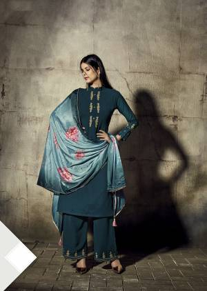 New Shade Is Here To Add Into Your Wardrobe With This Designer Straight Cut Readymade Suit In Teal Blue Color Paired With Light Blue Colored Dupatta. Its Top And Bottom Are Georgette Based Paired With Chinon Fabricated Dupatta. Buy Now.