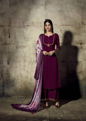 Grab This Very Beautiful Designer Readymade Straight Suit In Wine Color Paired With Mauve Colored Dupatta. This Pretty Suit Is Georgette Based Paired With Chinon Fabricated Dupatta.