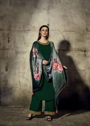 Celebrate This Festive Season Wearing This Designer Readymade Straight Suit In Dark Green Color Paired With Grey And Green Colored Dupatta. Its Top And Bottom Are Georgette Based Paired With Chinon Fabricated Dupatta. Buy Now.