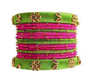 Grab This Beautiful Set Of Bangles To Pair Up With Your Ethnic?Wear, You Can Also Mix It With Other Plain Bangles For More Heavy Look. It Is Made With Resham Thread And Beautified With Stone Work, Pair These Up With Same Or Any Contrasting Colored Ethnic Attire.