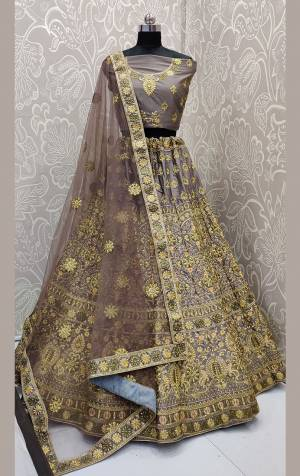 Get Ready For The Upcoming Wedding Season With This Very Pretty Heavy Embroidered Designer Lehenga Choli In Grey Color. This Beautiful Lehenga Choli Is Fabricated On Satin Silk Paired With Net Fabricated Dupatta. Buy Now.