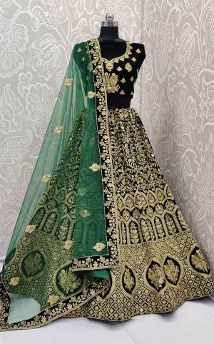 Here Is a Proper Heavy Traditional Lehenga Choli For The Upcoming Wedding Season In Dark Green Color Paired with A Very Pretty Green Colored Dupatta. This Heavy Embroidered Designer Lehenga Choli Is Fabricated On Velvet Paired With Net Fabricated Dupatta. Buy This Beautiful Traditional Piece Now.