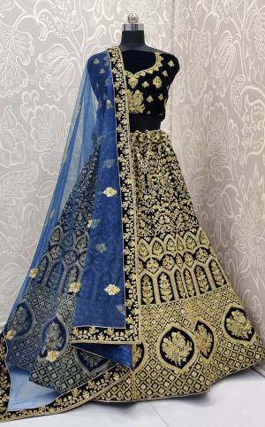 Here Is a Proper Heavy Traditional Lehenga Choli For The Upcoming Wedding Season In Navy Blue Color Paired with A Very Pretty Blue Colored Dupatta. This Heavy Embroidered Designer Lehenga Choli Is Fabricated On Velvet Paired With Net Fabricated Dupatta. Buy This Beautiful Traditional Piece Now.