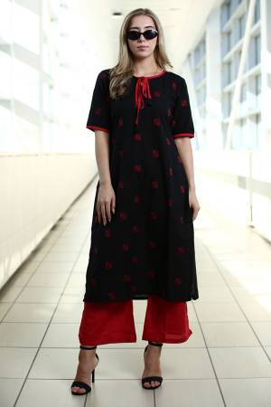 Simple And Elegant Kurta Set Is Here In Black Colored Kurti Paired With Red Colored Plazzo. This Kurti Is Fabricated On Organic Cotton Paired With Khadi Fabricated Bottom. Buy This Readymade Pair Now.