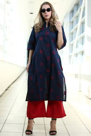 Simple And Elegant Kurta Set Is Here In Navy Blue Colored Kurti Paired With Red Colored Plazzo. This Kurti Is Fabricated On Organic Cotton Paired With Khadi Fabricated Bottom. Buy This Readymade Pair Now.