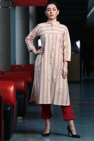 Grab This Readymade Lining Printed Kurti In White And Pink Color Fabricated On Organic Cotton Paired With Red Colored Khadi Fabricated Bottom. Both Its Fabric Are Light Weight And Easy To Carry All Day Long.