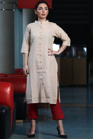 Grab This Readymade Kurti In Beige Color Fabricated On Organic Cotton Paired With Red Colored Khadi Fabricated Bottom. Both Its Fabric Are Light Weight And Easy To Carry All Day Long.
