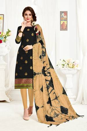 If Those Readymade Suit Does Not Lend You The Desired Comfort Than Grab This Dress Material In Black Colored Top Paired With Beige Colored Bottom And Dupatta And Get This Stitched As Per Your Desired Fit And Comfort. Its Top And Dupatta Are Fabricated On Banarasi Art Silk Paired With Cotton Fabricated Bottom.