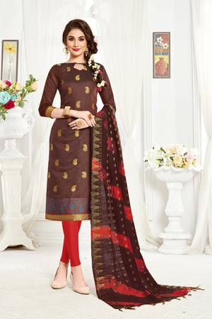 Simple and Elegant Suit Is Here In Brown And Red Color Fabricated On Banarasi Art Silk Paired With Cottin Fabricated Bottom. Grab This Dress Material And Get This Stitched As Per Your Desired Fit And Comfort.