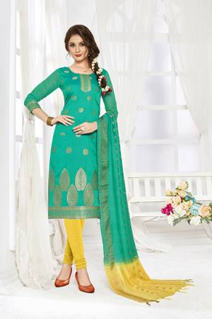 Look Pretty In This Simple And Elegant Looking Straight Suit In Sea Green And Yellow Color. This Dress Material Is Banarasi Art Silk Based Paired With Cotton Fabricated Bottom. Buy This Pretty Piece Now.
