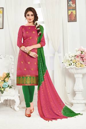 Simple and Elegant Suit Is Here In Pink And Green Color Fabricated On Banarasi Art Silk Paired With Cottin Fabricated Bottom. Grab This Dress Material And Get This Stitched As Per Your Desired Fit And Comfort.