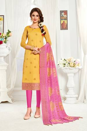 Look Pretty In This Simple And Elegant Looking Straight Suit In Yellow And Pink Color. This Dress Material Is Banarasi Art Silk Based Paired With Cotton Fabricated Bottom. Buy This Pretty Piece Now.