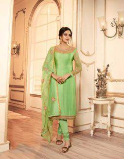 Get Ready For The Upcoming Festive And Wedding Season With This Designer Two In One Indo Western Suit In Light Green And Pink Color. This Its Embroidered Top Is Georgette Satin Based Paired With Santoon Bottom And Georgette And Net Fabricated Lehenga And Net Dupatta.