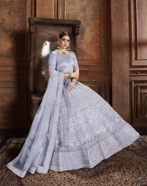 Beautiful And Elegant Looking Shade Is Here To Add Into Your Wardrobe With This Heavy Designer Lehenga Choli In Steel Blue Color. This Lehenga Choli And Dupatta Are Fabricated On Net Beautified With Heavy Detailed Embroidery. Buy Now.