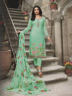 Celebrate This Festive Season Wearing This Designer Straight Suit In Sea Green Color. Its Top Is Crepe Based Paired With Santoon Bottom And Chiffon Fabricated Dupatta. It Has Pretty Floral Print And Elegant Embroidery Which Gives A Pretty Look.