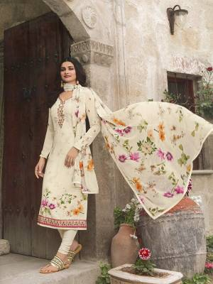 Simple And Elegant Looking Lovely Semi-Stitched Suit Is Here In Off-White Color. This Pretty Suit Is Crepe Based Paired With Santoon Bottom And Chiffon Fabricated Dupatta. Buy Now.