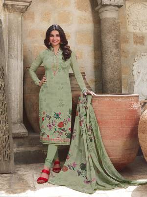 Here Is A Very Beautiful Designer Straight Suit In Mint Green Color. This Pretty Top Is Fabricated On Crepe Paired With Santoon Fabricated Bottom And Chiffon Fabricated Dupatta. It Is Beautified With Floral Printed And Embroidery. Buy Now.