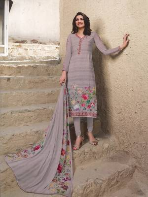 Celebrate This Festive Season Wearing This Designer Straight Suit In Mauve Color. Its Top Is Crepe Based Paired With Santoon Bottom And Chiffon Fabricated Dupatta. It Has Pretty Floral Print And Elegant Embroidery Which Gives A Pretty Look.