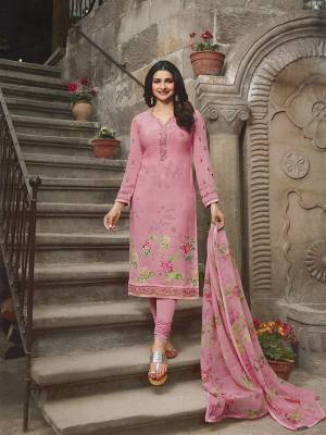 Look Pretty In This Designer Straight Suit In Pretty Pink Color. This Semi-Stitched Suit Is Fabricated On Crepe Paired With Santoon Bottom And Chiffon Fabricated Dupatta. It Has Pretty Floral Prints And Subtle Embroidery.