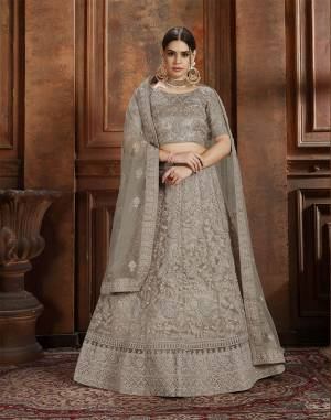 Here Is Very Elegant Looking Heavy Designer Lehenga Choli For The Upcoming Wedding Season In Pretty Sand Grey Color. This Lehenga , Choli And Dupatta Are Fabricated On Net Beautified With Heavy Detailed Embroidery. Buy Now.