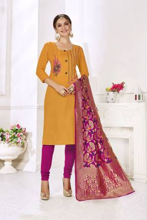 If Those Readymade Suit Does Not Lend You The Desired Comfort Than Grab This Designer Cotton Based Dress Material And Get This Stitched As Per Your Desired Fit And Comfort, Its Top Is In Musturd Yellow Color Paired With Contrasting Magenta Pink Colored Bottom And Dupatta.
