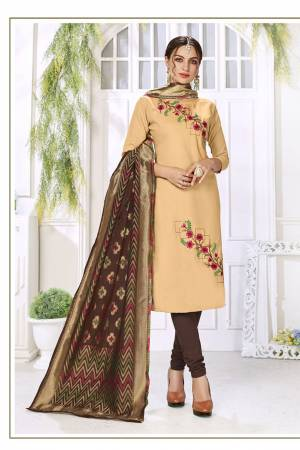 Flaunt Your Rich And Elegant Taste In This Lovely Color Pallete Designer Suit In Beige Colored Top Paired With Brown Colored Bottom And Dupatta. This Dress Material Is Cotton Based Paired With Jacquard Silk Fabricated Dupatta.?