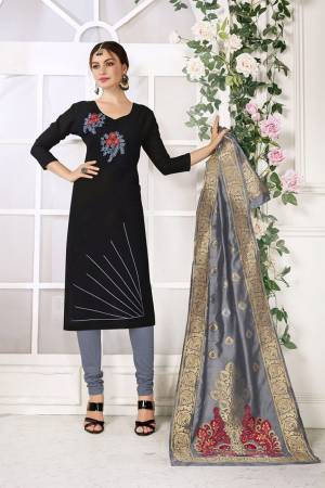 Here Is Very beautiful Dress Material In Black Color Paired?With Grey Colored Bottom and Dupatta. Its Top And Bottom are Cotton based Paired With Jacquard Silk Fabricated Dupatta. Get This Stitched As Per Your Desired Fit And Comfort.