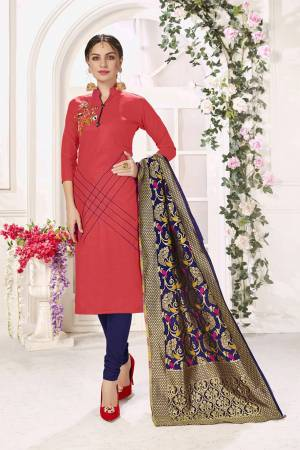 If Those Readymade Suit Does Not Lend You The Desired Comfort Than Grab This Designer Cotton Based Dress Material And Get This Stitched As Per Your Desired Fit And Comfort, Its Top Is In Old Rose Pink Color Paired With Contrasting Navy Blue Colored Bottom And Dupatta.