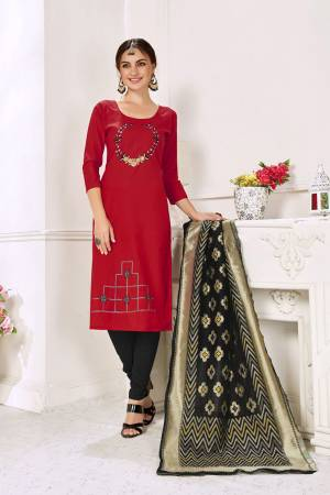 Flaunt Your Rich And Elegant Taste In This Lovely Color Pallete Designer Suit In Red Colored Top Paired With Black Colored Bottom And Dupatta. This Dress Material Is Cotton Based Paired With Jacquard Silk Fabricated Dupatta.?