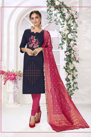 Here Is Very beautiful Dress Material In Navy Blue Color Paired?With Dark Pink Colored Bottom and Dupatta. Its Top And Bottom are Cotton based Paired With Jacquard Silk Fabricated Dupatta. Get This Stitched As Per Your Desired Fit And Comfort.