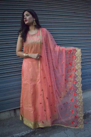 Look Pretty In This Very Beautiful Designer Readymade Suit In Pink Color. Its Top Is Fabricated On Art Silk Paired With Santoon Bottom And Net Fabricated Embroidered Dupatta. Buy Now.