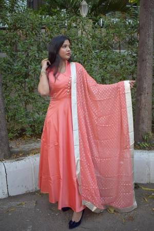 Simple And Elegant Looking Readymade Floor Length Suit Is Here In Old Rose Pink Color. This Pretty Suit Is Fabricated On Satin Silk Paired With Santoon Bottom And Georgette Fabricated Weaved Dupatta.