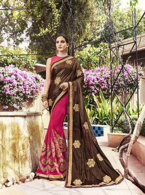 Evergreen Color Pallete Is Here With This Designer Saree In Brown And Dark Pink Color Paired With Dark Pink Colored Blouse. This Saree Fabricated On Lycra And Georgette Paired With Art Silk Fabricated Blouse.